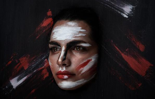 Picture girl, face, background, paint, portrait, makeup, Neda