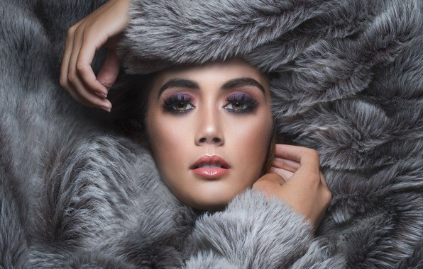 Picture look, girl, face, style, portrait, hands, makeup, fur, Anand Kulkarni