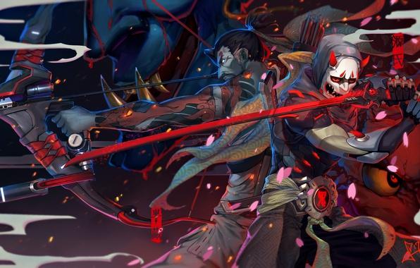 Picture weapons, katana, petals, Sakura, mask, bow, art, guy, arrows, overwatch, genji, squidsmith, hanzo