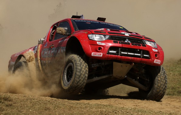 Picture race, Mitsubishi, the roads, pickup, Off Road Racing