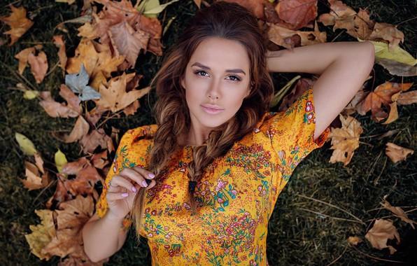 Picture autumn, look, leaves, face, Xenia, Hakan Erenler, Ksenia Turlava
