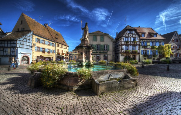 Picture France, HDR, home, area, monument, Eguisheim Alsac