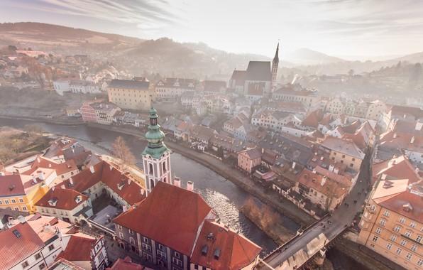 Picture river, morning, Czech Republic, Cesky Krumlov, Czech-Krumlov