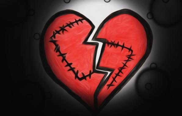 Picture heart, figure, seam, broken heart