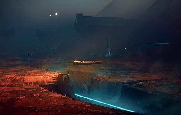 Picture city, lights, future, fantasy, night, science fiction, digital art, artwork, fantasy art, Spaceship, illustration, futuristic, …