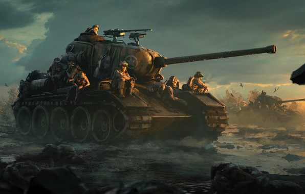 Picture field, clouds, sunset, birds, dirt, art, soldiers, tanks, American