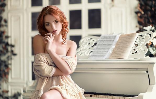 Picture girl, notes, room, dress, piano, window, neckline, red, shoulders, curls, Catherine Seriukova, Mikle Nemirovskiy