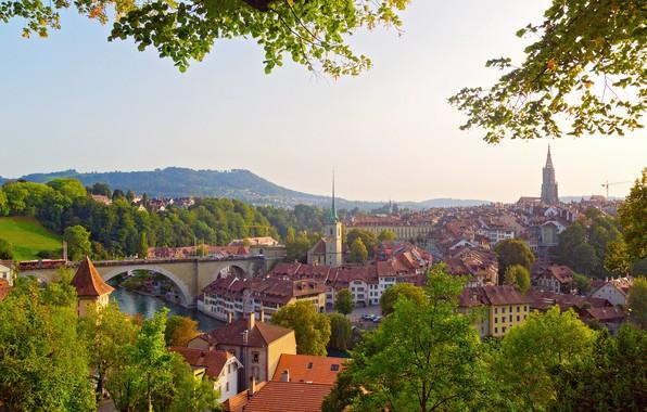 Picture greens, trees, bridge, river, home, Switzerland, Bern