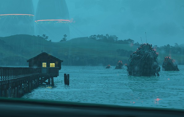 Picture hills, pier, creatures, crossing