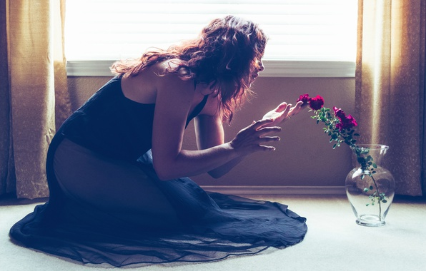 Picture glass, girl, light, flowers, pose, room, mood, hair, roses, hands, dress, window, floor, vase, curtains, …