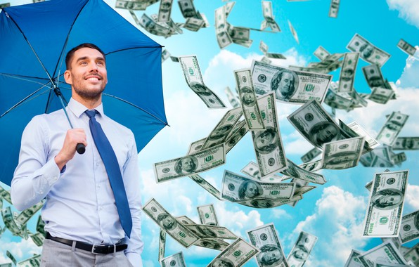 Picture the sky, clouds, umbrella, tie, male, shirt, dollars, pants, fall