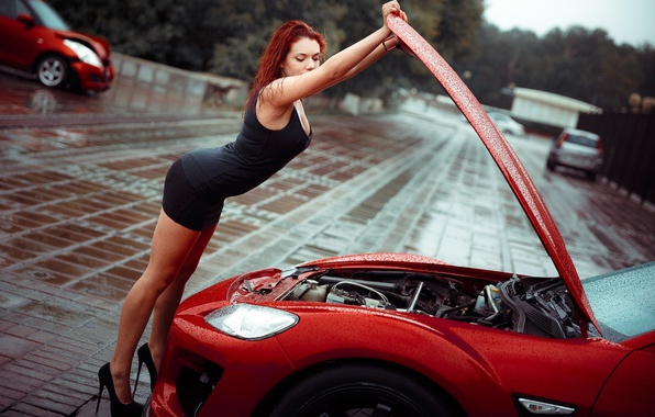 Picture girl, drops, red, pose, rain, the hood, figure, dress, shoes, red, legs, car, motor, in …