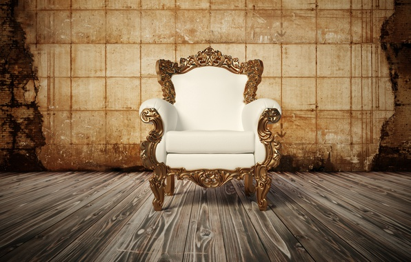 Picture wood, Armchair, white leather