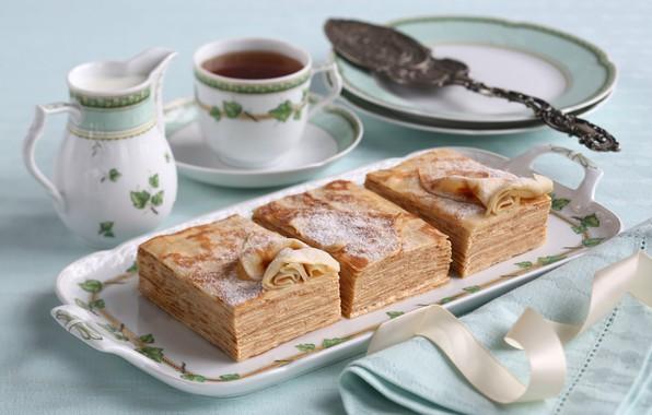 Picture tea, pancakes, dessert