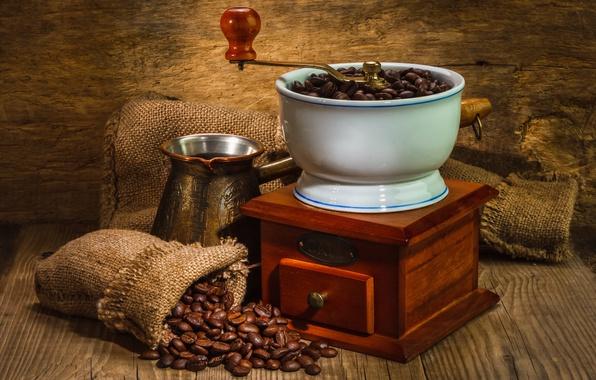 Photo wallpaper coffee, grain, Turk, coffee grinder