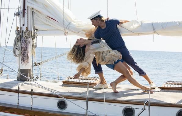 Picture girl, yacht, male, Lily James, Jeremy Irvine