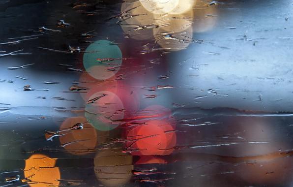 Picture wet, glass, macro, light, bokeh