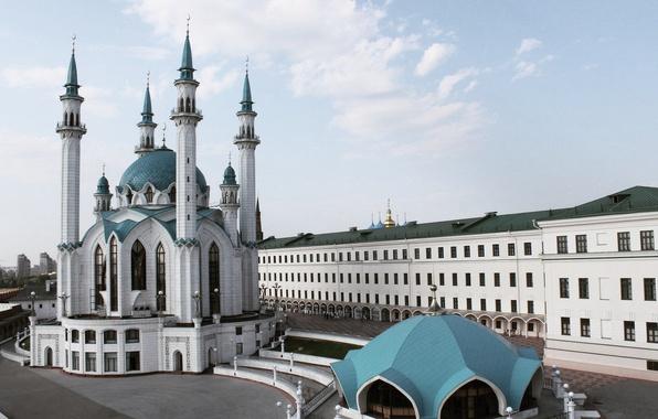 Picture summer, the city, view, the Kremlin, mosque, Kazan, Tatarstan