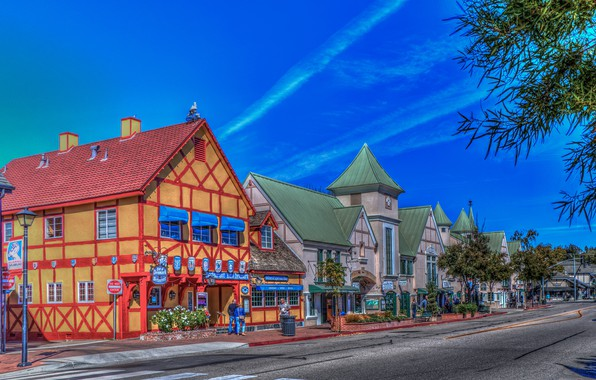 Picture road, the sky, street, HDR, home, CA, USA, Sunny, Solvang
