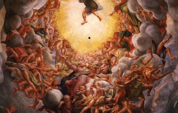 Picture clouds, people, Antonio Allegri Correggio, Italian painting, Golden Day