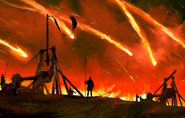 Picture fire, warriors, catapult, throwing, Meteor in the sky