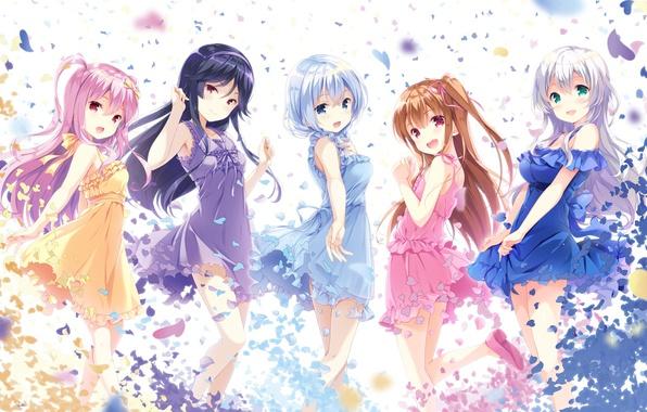 Picture joy, girls, anime, petals, art, ohara tometa, girlfriend, Murakami fumio, asahina momoko, he who received …