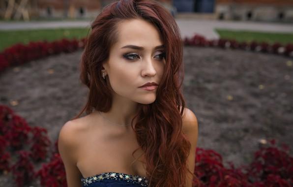 Picture girl, Model, green eyes, long hair, dress, photo, flowers, garden, bokeh, lips, face, redhead, portrait, …