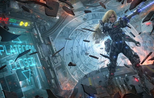 Picture girl, fragments, weapons, fiction, ship, art, Sci-Fi