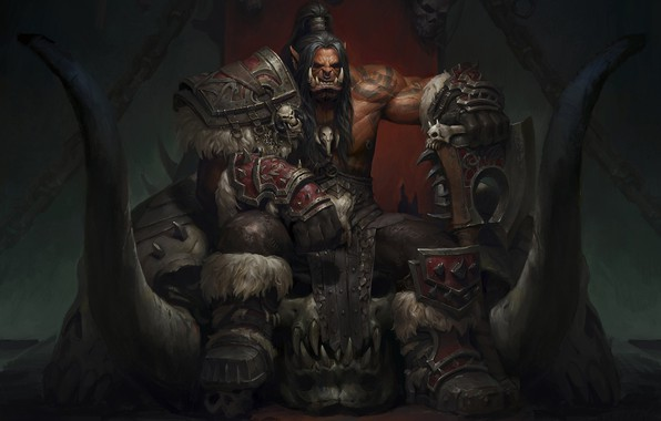 Picture fantasy, art, Warcraft, Orc, Grom Hellscream, the Warsong, Grom·Hellscream, weibin tang