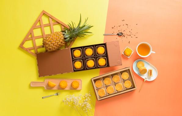 Picture tea, cookies, pineapple