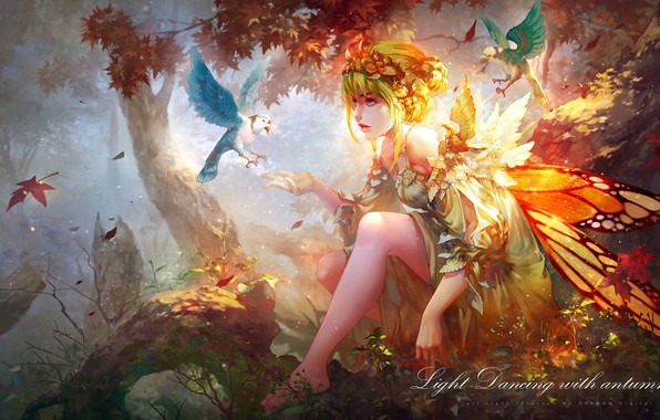 Picture girl, birds, nature