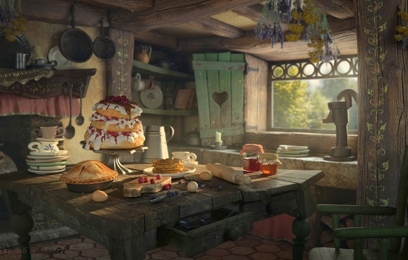 Picture house, table, mood, art, Hansel and Gretel, Sergio Raposo Fernández, kitchen. holiday