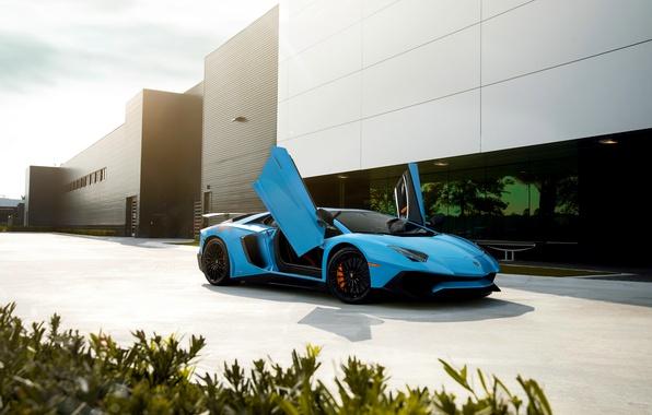 Picture Lamborghini, Blue, Front, Aventador, Supercar, LP750-4