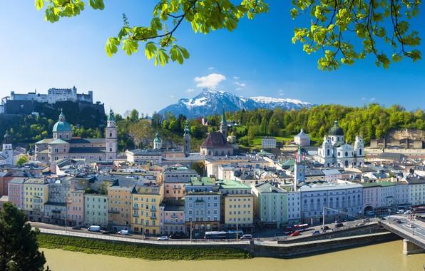 Picture mountains, bridge, river, building, home, Austria, panorama, promenade, Austria, Salzburg, Salzburg, Salzach River, the Salzach …