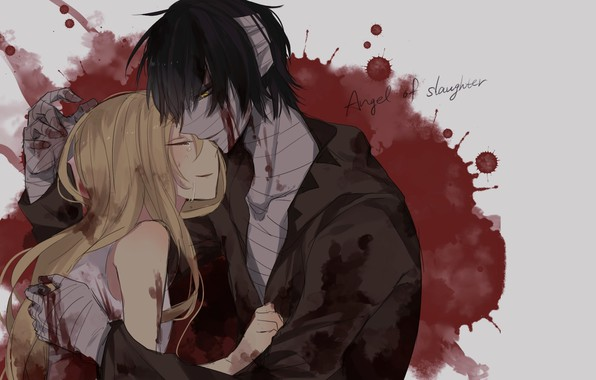 Picture girl, romance, blood, art, pair, guy, bandages, Angel bloodshed, Satsuriku no Tenshi