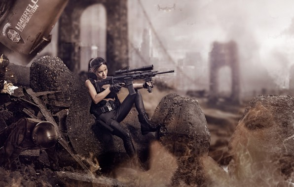 Picture girl, weapons, ruins