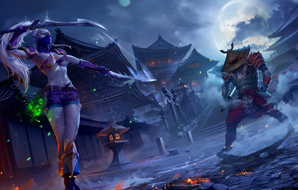Picture girl, night, the moon, elf, Japan, sword, katana, warrior, samurai, the full moon, Juggernaut Wars