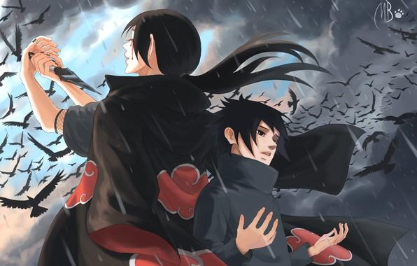 Picture child, crows, brothers, naruto, sharingan, brothers, Itachi Uchiha, Uchiha, Sasuke Uchiha, by BlackMarlb0r0
