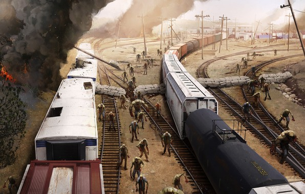 Picture fire, smoke, cars, zombies, railroad, composition, region screen junction