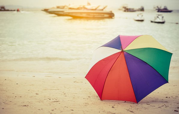 Picture sand, sea, beach, summer, happiness, stay, umbrella, colorful, rainbow, summer, happy, beach, sea, umbrella, sand, …