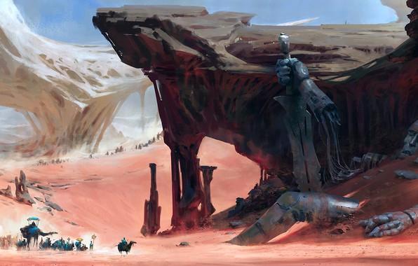 Picture sword, fantasy, Robot, desert, rocks, people, sand, digital art, artwork, giant, fantasy art, camels, caravan, …