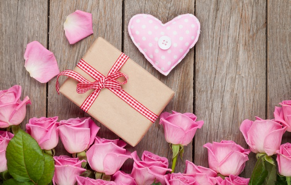 Picture roses, love, heart, pink, romantic, sweet, gift, petals, roses, valentine`s day
