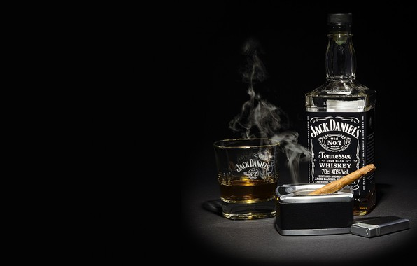 Picture smoke, lighter, cigar, whiskey, whiskey, whisky, Bourbon, Jack Daniels, Jack daniels