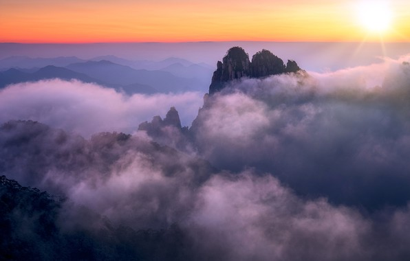 Picture clouds, sunset, mountains, China, Anhui, Huangshan