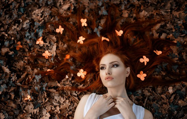 Picture autumn, leaves, flowers, face, mood, hair, red, redhead, Alessandro Di Cicco, Valentina Galassi