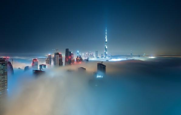 Picture city, lights, Dubai, night, skyscraper, clouds, architecture, building, Burj Khalifa, cityscape, UAE, mist, United Arab …