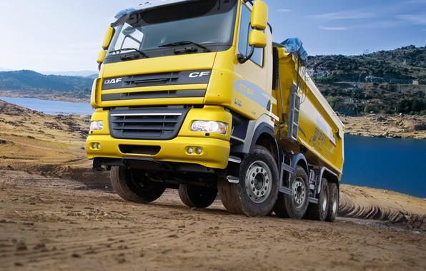 Picture yellow, truck, body, primer, DAF, DAF, dump truck, Euro5, 8x4, DAF CF85.460