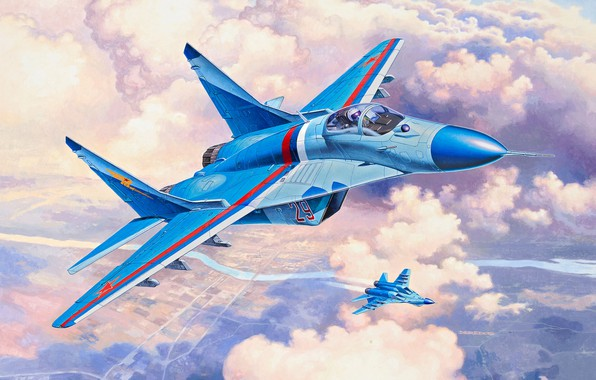 Picture art, Russia, Fulcrum, the fourth generation fighter, Videoconferencing Russia, Russian fighter, The MiG-29S