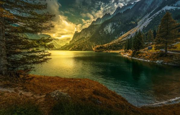 Picture sunset, mountains, lake, Austria, Alps, Austria, Alps, Gosau, Gosau, Vorderer Gosausee, Gosau Lake, Lake Gosau
