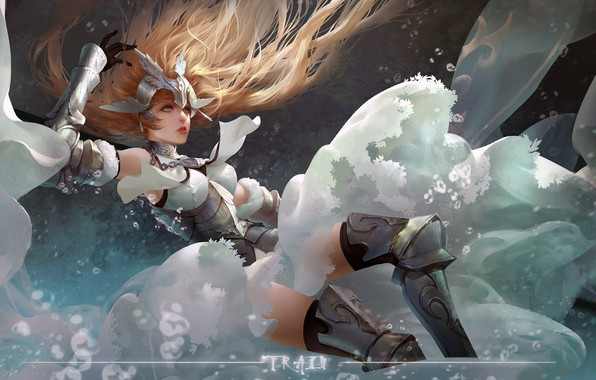 Picture girl, fantasy, armor, long hair, anime, art, blue eyes, blonde, digital art, artwork, warrior, fantasy ...
